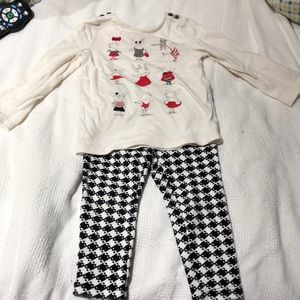 Black white olivia the pig outfit good condition